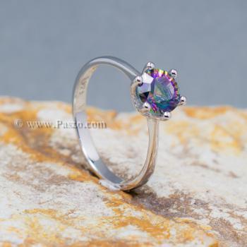 แหวนพลอยสีรุ้ง พลอยเม็ดกลม แหวนเม็ดเดี่ยว #7