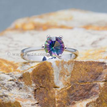 แหวนพลอยสีรุ้ง พลอยเม็ดกลม แหวนเม็ดเดี่ยว #8