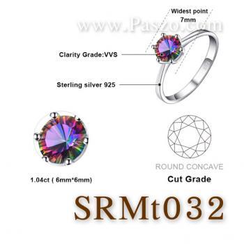 แหวนพลอยสีรุ้ง พลอยเม็ดกลม แหวนเม็ดเดี่ยว #5