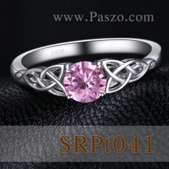 แหวนพลอยสีชมพู แหวนปมเงื่อน แหวนเงินแท้ #2