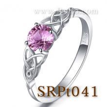 แหวนพลอยสีชมพู แหวนปมเงื่อน แหวนเงินแท้