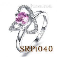 แหวนพลอยสีชมพู แหวนดอกลำดวน แหวนดอกไม้ แหวนเงินแท้