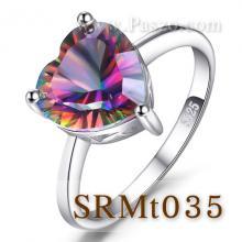 แหวนพลอยสีรุ้ง แหวนพลอยรูปหัวใจ แหวนเงิน พลอยสีรุ้ง พลอยเม็ดเดี่ยว
