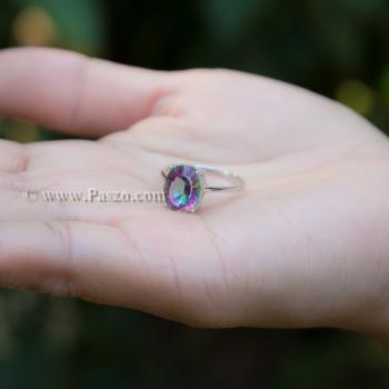 แหวนพลอยสีรุ้ง พลอยรูปไข่ แหวนเงินแท้ #9