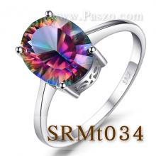 แหวนพลอยสีรุ้ง พลอยรูปไข่ แหวนเงินแท้ แหวนพลอยเม็ดเดี่ยว พลอยโทพาซสีรุ้ง