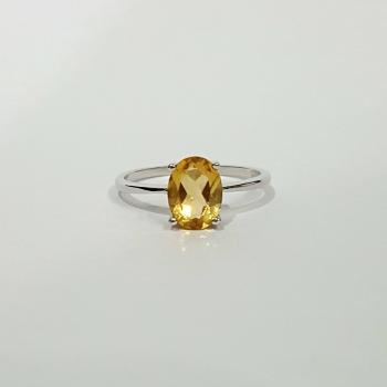 แหวนพลอยซิทริน แหวนเงิน แหวนพลอยเม็ดเดี่ยว #5