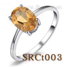 แหวนพลอยซิทริน แหวนเงิน แหวนพลอยเม็ดเดี่ยว พลอยสีเหลือง เม็ดเดี่ยว
