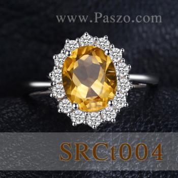 แหวนพลอยซิทริน แหวนล้อมเพชร แหวนเงินแท้ #2
