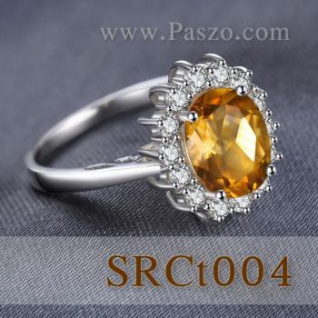 แหวนพลอยซิทริน แหวนล้อมเพชร แหวนเงินแท้ #5