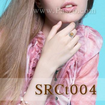 แหวนพลอยซิทริน แหวนล้อมเพชร แหวนเงินแท้ #3