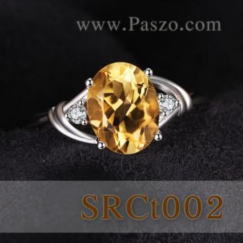 แหวนพลอยซิทริน แหวนเงิน พลอยสีเหลือง #2