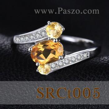 แหวนพลอยซิทริน พลอย3เม็ด แหวนเงินแท้ #2