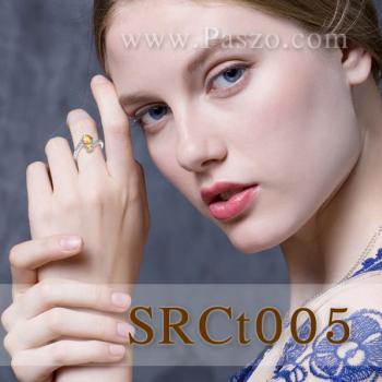 แหวนพลอยซิทริน พลอย3เม็ด แหวนเงินแท้ #3