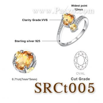 แหวนพลอยซิทริน พลอย3เม็ด แหวนเงินแท้ #6