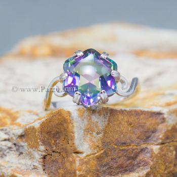 แหวนพลอยสีรุ้ง พลอยรูปดาว แหวนเงิน #6