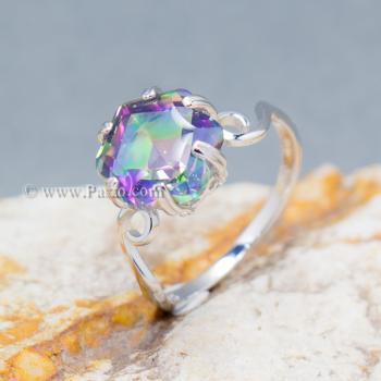 แหวนพลอยสีรุ้ง พลอยรูปดาว แหวนเงิน #9