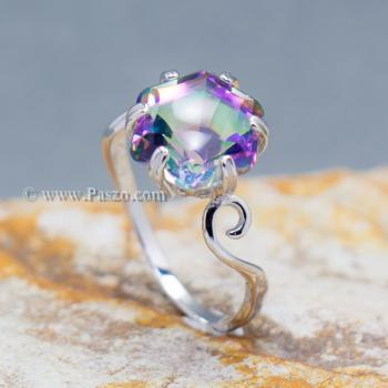 แหวนพลอยสีรุ้ง พลอยรูปดาว แหวนเงิน #7