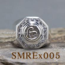 แหวนนโม แหวนผู้ชายเงินแท้ แหวนแปดเหลี่ยม แหวนผู้ชาย ล้อมเพชร
