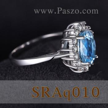 แหวนพลอยอะความารีน ล้อมเพชร แหวนพลอยสีฟ้า #4
