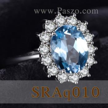 แหวนพลอยอะความารีน ล้อมเพชร แหวนพลอยสีฟ้า #2