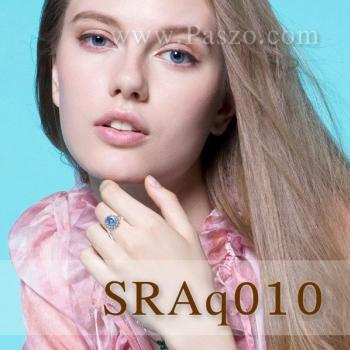 แหวนพลอยอะความารีน ล้อมเพชร แหวนพลอยสีฟ้า #3