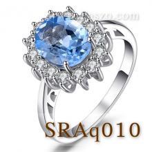 แหวนพลอยอะความารีน ล้อมเพชร แหวนพลอยสีฟ้า แหวนเงินแท้ แหวนล้อมเพชร