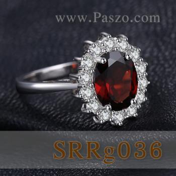 แหวนพลอยโกเมน ล้อมเพชร แหวนเงินแท้ #4