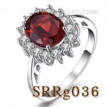 แหวนพลอยโกเมน ล้อมเพชร แหวนเงินแท้ แหวนล้อมเพชร