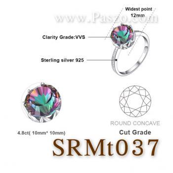 แหวนพลอยสีรุ้ง ประดับเพชร พลอยเม็ดกลม #5