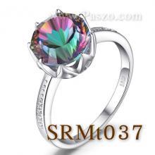 แหวนพลอยสีรุ้ง ประดับเพชร พลอยเม็ดกลม แหวนเงินแท้