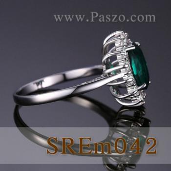 แหวนพลอยมรกต แหวนล้อมเพชร แหวนเงินแท้ #4