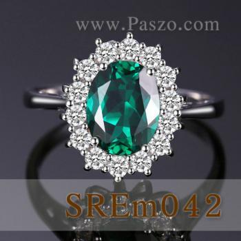 แหวนพลอยมรกต แหวนล้อมเพชร แหวนเงินแท้ #2