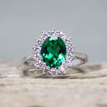 แหวนพลอยมรกต แหวนล้อมเพชร แหวนเงินแท้ #8