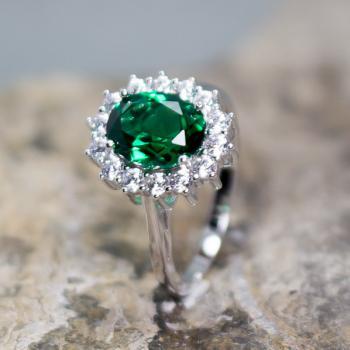 แหวนพลอยมรกต แหวนล้อมเพชร แหวนเงินแท้ #6