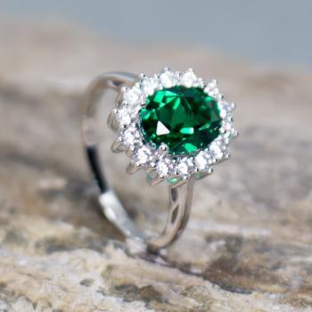 แหวนพลอยมรกต แหวนล้อมเพชร แหวนเงินแท้ #9