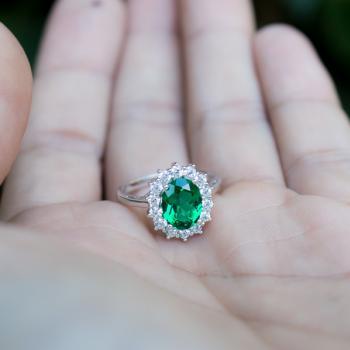 แหวนพลอยมรกต แหวนล้อมเพชร แหวนเงินแท้ #7