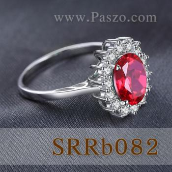 แหวนพลอยทับทิม ล้อมเพชร แหวนเงินแท้ #4