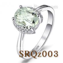 แหวนพลอยอเมทิสต์สีเขียว พลอยสีเขียว ประดับเพชร แหวนเงินแท้