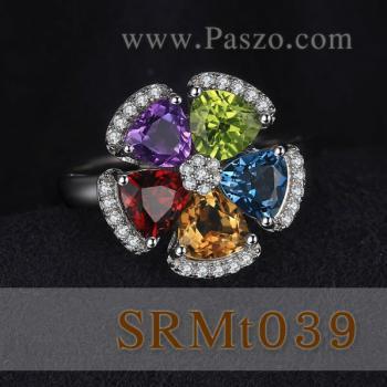 แหวนพลอยหลากสี แหวนรูปดอกไม้ แหวนเงินแท้ #4