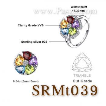 แหวนพลอยหลากสี แหวนรูปดอกไม้ แหวนเงินแท้ #5