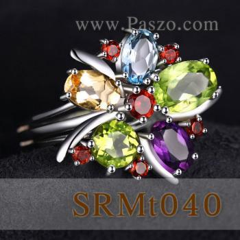 แหวนพลอยหลากสี แหวนรูปดอกไม้ แหวนเงินแท้ #2