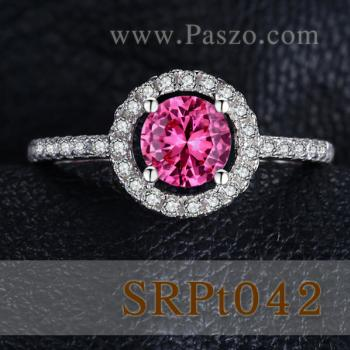 แหวนพลอยสีชมพู พลอยเม็ดกลม ล้อมเพชร #2
