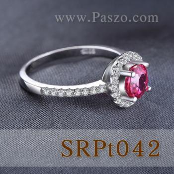 แหวนพลอยสีชมพู พลอยเม็ดกลม ล้อมเพชร #4