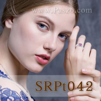 แหวนพลอยสีชมพู พลอยเม็ดกลม ล้อมเพชร #3