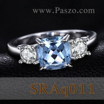 แหวนพลอยอะความารีน เม็ดสี่เหลี่ยม ประดับเพชร #2