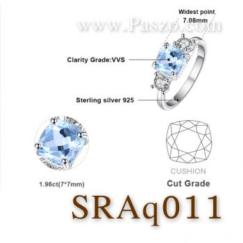 แหวนพลอยอะความารีน เม็ดสี่เหลี่ยม ประดับเพชร #5