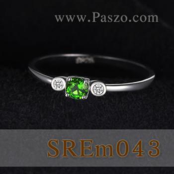 แหวนพลอยมรกต ประดับเพชร แหวนเงินแท้ #2
