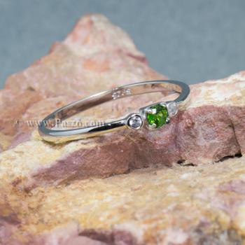 แหวนพลอยมรกต ประดับเพชร แหวนเงินแท้ #6