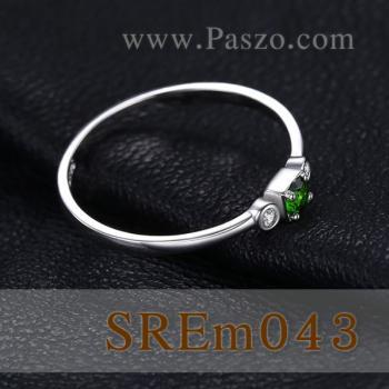 แหวนพลอยมรกต ประดับเพชร แหวนเงินแท้ #4