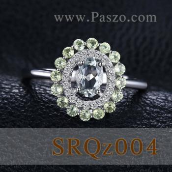 แหวนพลอยเพอริดอท แหวนล้อมเพชร แหวนเงินแท้ #3